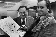 Uderzo, a la derecha, junto a René Goscinny, en los años 70.