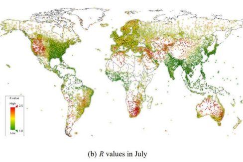 Gráfico de la expansión del virus en julio