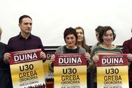 Los secretarios generales de ELA y LAB durante la convocatoria de la huelga del pasado mes de enero.