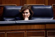 La vicepresidenta primera del Gobierno, Carmen Calvo, en su última aparición pública, el 18 de marzo.