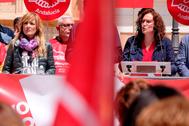 Las secretarias generales de UGT-A, Carmen Castilla, y CCOO-A, Nuria López, en la celebración del 1 de Mayo.