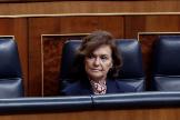 La vicepresidenta primera del Gobierno, Carmen Calvo, en su última aparición pública, el 18 de marzo, en el Congreso.