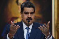 Nicolás Maduro durante una rueda de prensa.