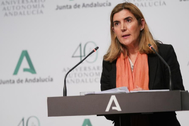 La consejera de Empleo, Rocío Blanco, este jueves tras el Consejo de Gobierno.