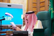 El rey Salmán de Arabia Saudí, en la videoconferencia.