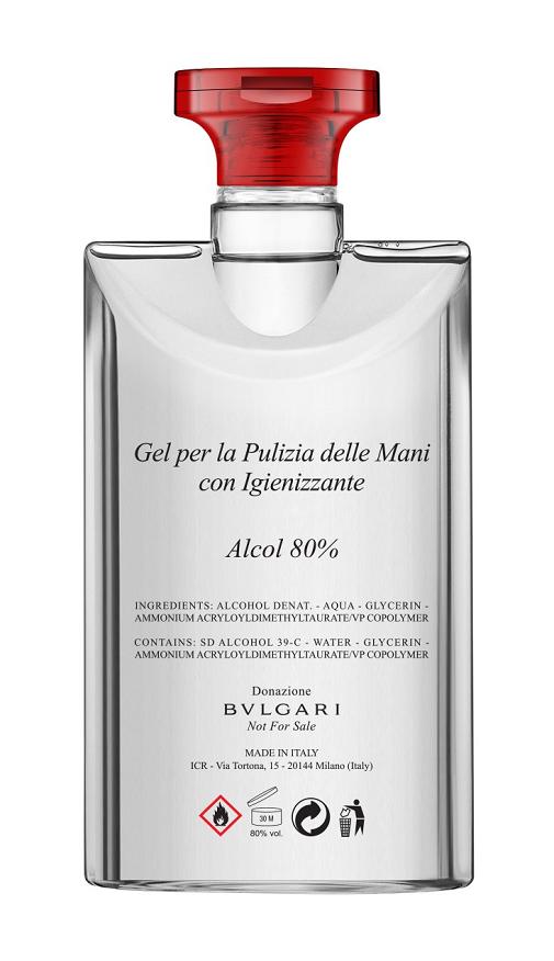 El desinfectante que aporta a la autoridades italianas Bvlgari.