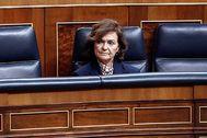 Carmen Calvo, en su escaño el pasado día 18, su última aparición pública.