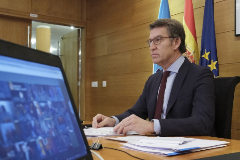 Alberto Núñez Feijóo, durante la videoconferencia con Pedro Sánchez y los presidentes autonómicos, el pasado lunes.