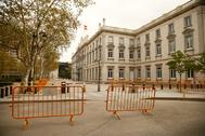 El edificio del Tribunal Supremo, este viernes, en el día 13 del estado de alarma.