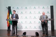 El vicepresidente de la Junta, Juan Marín, y el consejero de Salud, Jesús Aguirre.