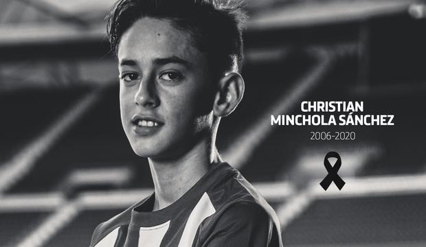 Muere el canterano del Atlético Christian Minchola a los 14 años