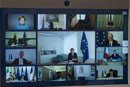 Los líderes europeos reunidos por videoconferencia.