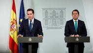 El presidente de CEOE, Antonio Garamendi, y el de Cepyme, Gerardo Cuerva, durante una reciente visita al Palacio de la Moncloa