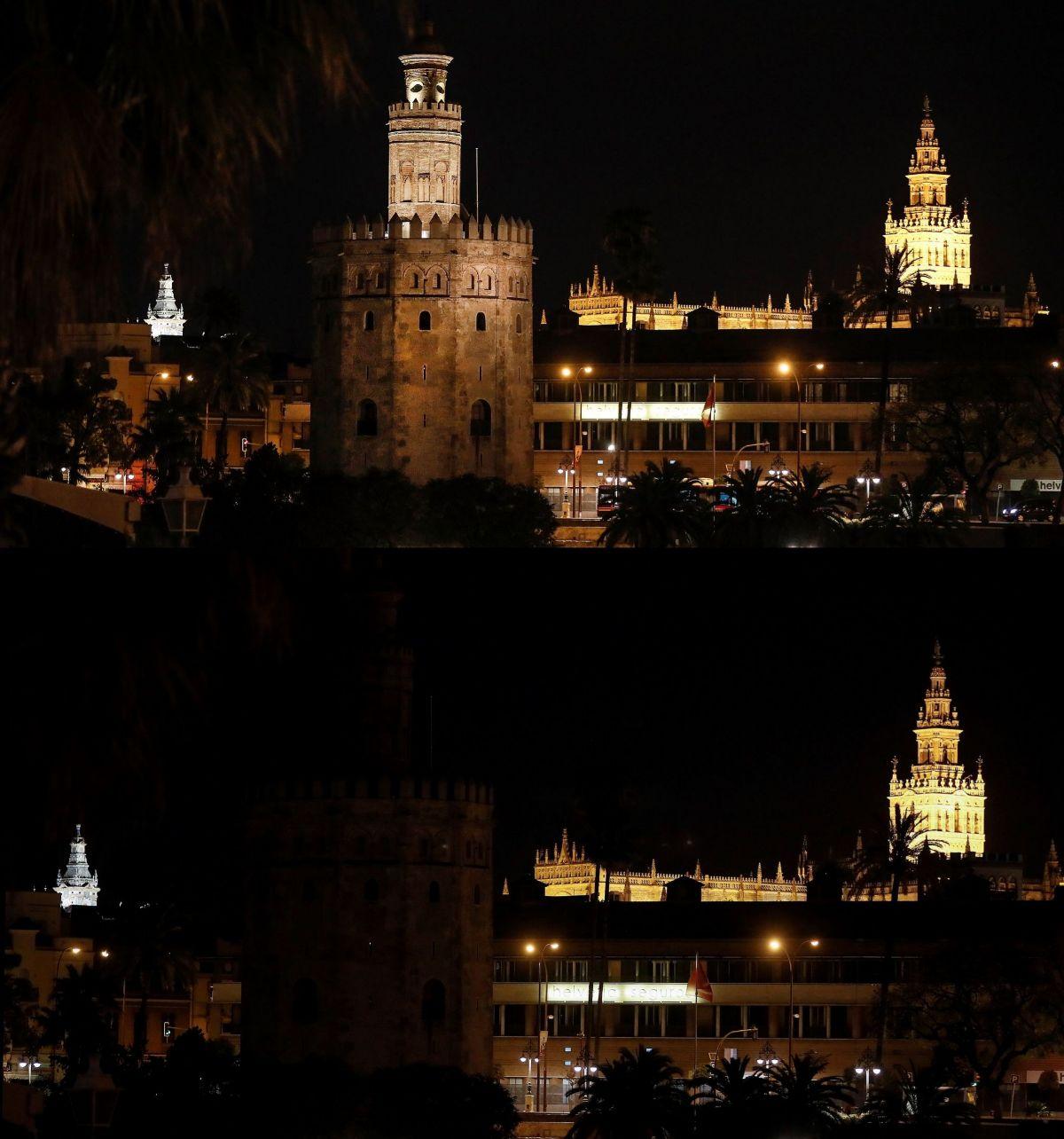 La Torre del Oro de Sevilla se ha sumado este sábado a la Hora del Planeta