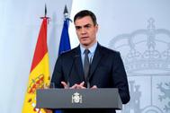 El presidente del Gobierno, Pedro Sánchez, en su comparecencia el sábado.