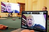 El primer ministro británico, Boris Johnson, en teleconferencia sobre el Covid-10.