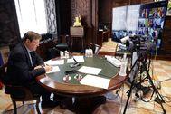Ximo Puig, este domingo, durante la videoconferencia con Pedro Sánchez y los presidentes autonómicos.
