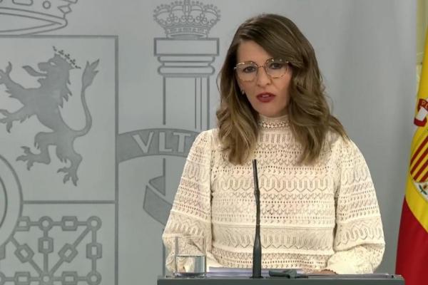 La ministra de Trabajo, Yolanda Díaz, tras el Consejo de Ministros del domingo.