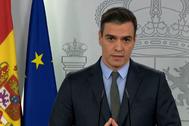 El presidente del Gobierno, Pedro Sánchez, en una comparecencia, el sábado, para anunciar nuevas medidas del estado de alarma.