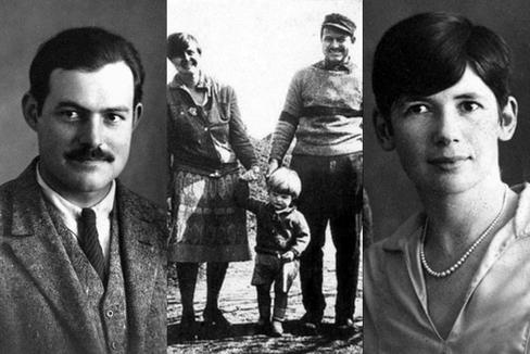 Hemingway, con Hadley y su hijo Bumby (centro), y Pauline Pfeiffer (dcha.).