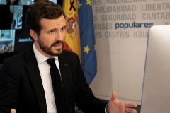 Pablo Casado, el viernes, durante una videoconferencia con la Comisión de seguimiento del Covid-19 del PP.