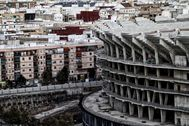 Parte de las gradas del nuevo Mestalla en construcción.