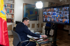 El presidente del Gobierno, Pedro Sánchez durante la videoconferencia de presidentes autonómicos del pasado domingo.