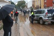 Calles anegadas de agua en Campanillas.