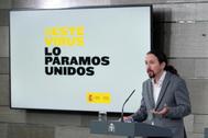 El vicepresidente del Gobierno, Pablo Iglesias, ayer en rueda de prensa.