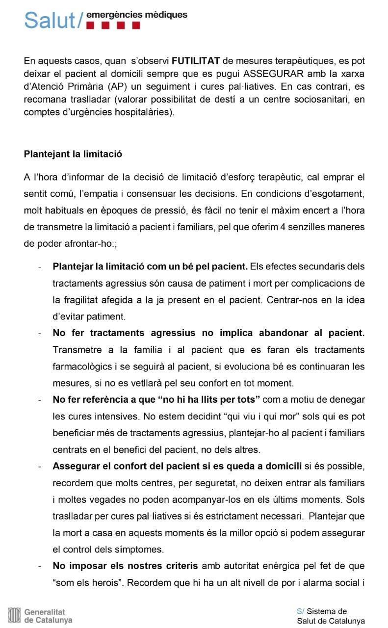 Guía para el servicio de emergencias catalán.
