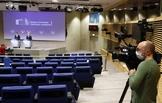 El jefe de la diplomacia europea, Josep Borrell, da una rueda de prensa virtual, ayer, en Bruselas.