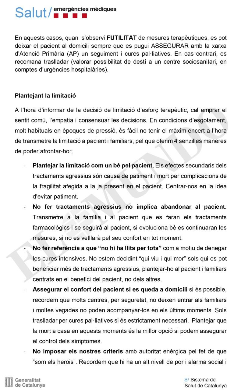 Guía de la Generalitat para sus sanitarios de emergencias.