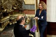 La presidenta del Congreso, Meritxell Batet, a su llegada al Pleno el pasado 25 de marzo.