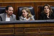 Pablo Iglesias, Nadia Calviño y Teresa Ribera, en el Congreso.