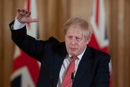 Boris Johnson durante una comparecencia en Downing Street el 20 de marzo.