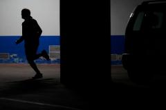 """Madrid, 03 de abril de 2020. Epidemia Coronavirus COVID 19. Foto ilustracion """"Correr en el garage"""" ante la prohibicion de salir a la calle durante el estado de alarma."""