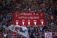 La afición del Liverpool, en una imagen de archivo.
