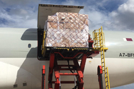 Imagen del avión procedente de China mientras se descarga su interior este domingo
