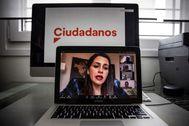 La presidenta de Ciudadanos, Inés Arrimadas, preside de forma telemática la reunión del Comité Ejecutivo del partido, este lunes.