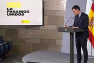 Pedro Sánchez, presidente del Gobierno, el pasado sábado en el Palacio de la Moncloa.