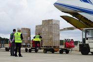 Uno de los cargamentos con material sanitario que ha llegado a Baleares durante el estado de alarma.
