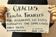 Noelia agradeciendo a sus caseros que le hayan perdonado el alquiler del local en El Ejido.