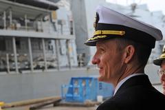 El capitán Brett Crozier en Yokosuka, Japón, en abril de 2018.