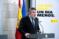 El ministro de Cultura y Deportes, José Manuel Rodríguez Uribes, durante su rueda de prensa de ayer.