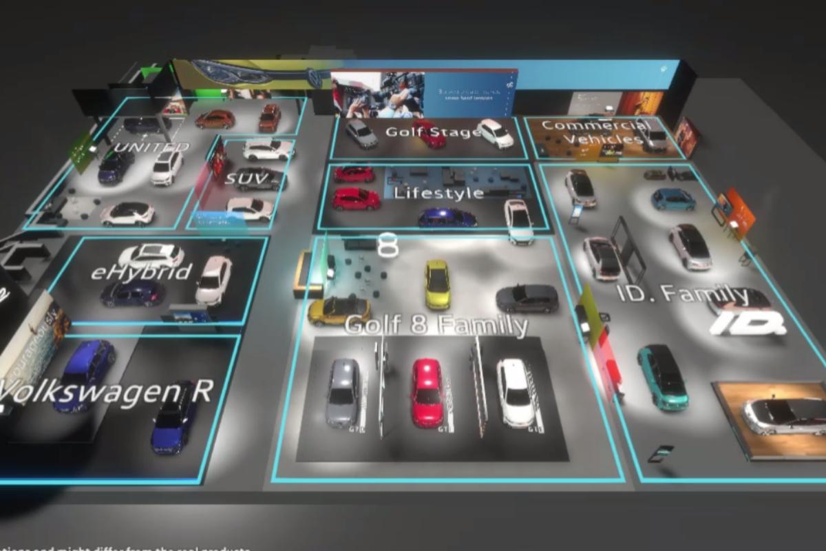 Vista aérea e inicial del recorrido virtual por el estand de Volkswagen