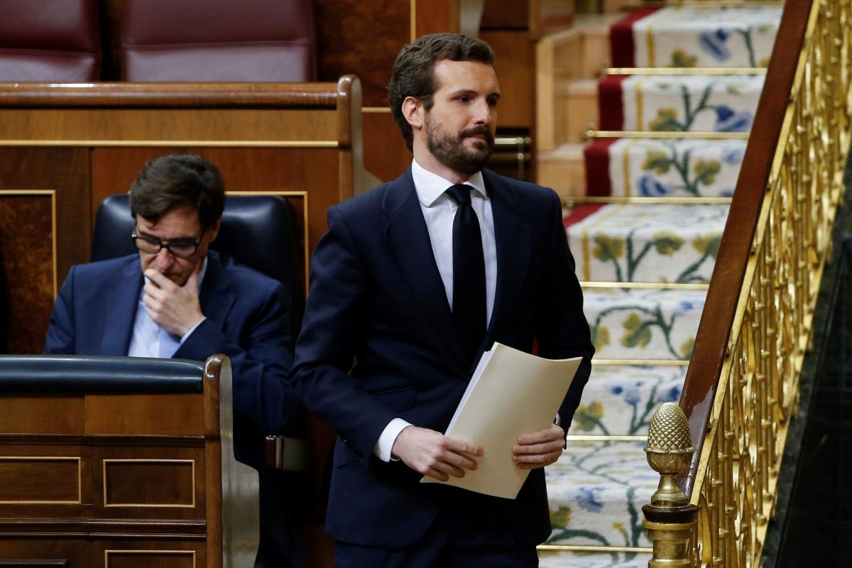 Pablo Casado, este jueves antes de su intervención.