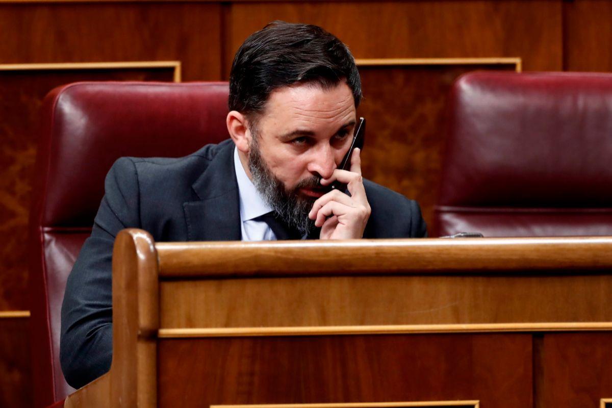 Santiago Abascal, este jueves en su escaño durante el pleno.