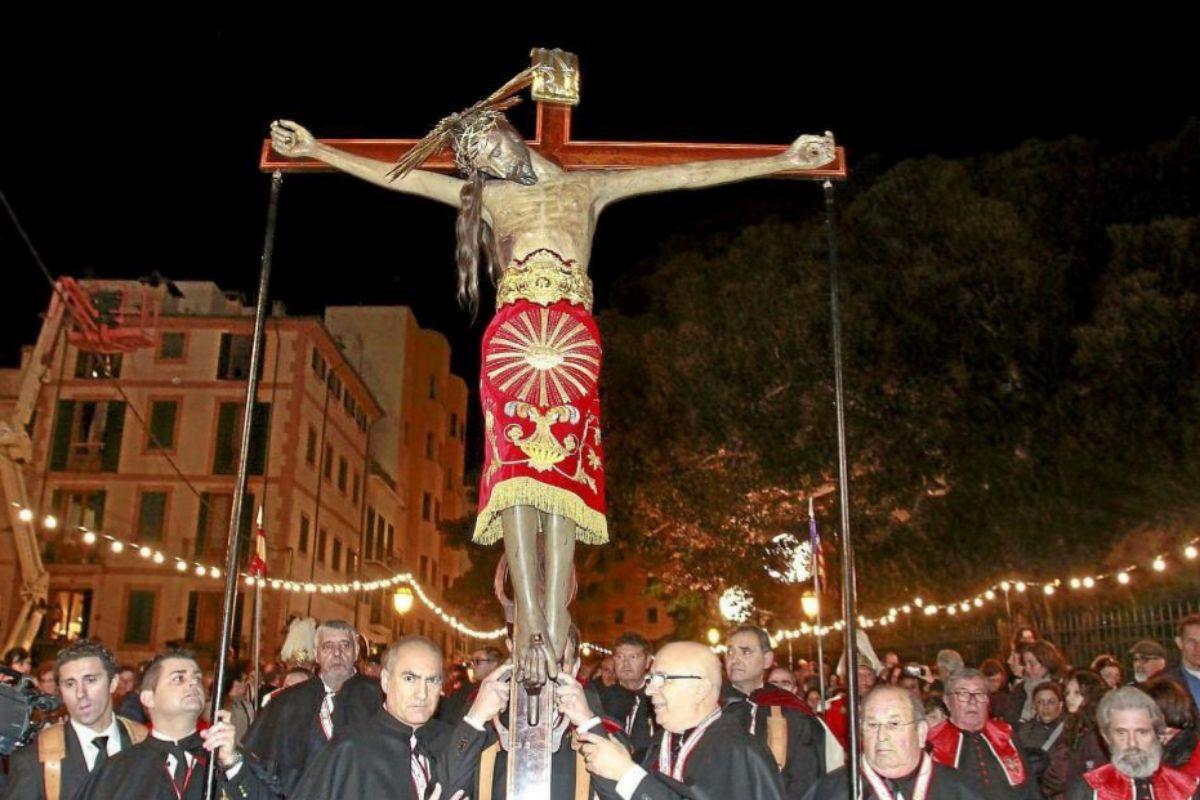 El Crist de La Sang en la procesión del Jueves Santo del año pasado.