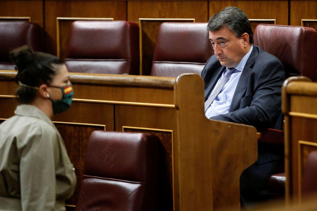 La diputada de Vox Macarena Olona pasa frente a Aitor Esteban protegida con una mascarilla con la bandera española.