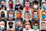Fotos tomadas a personas en Valencia que salen a la calle con mascarillas de lo más variado, compradas y caseras.